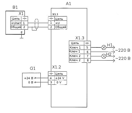 А1 - преобразователь вторичный сигнализатора ПВС4; В1 - датчик положения уровня ДПУ5А; G1 - внешний источник питания...